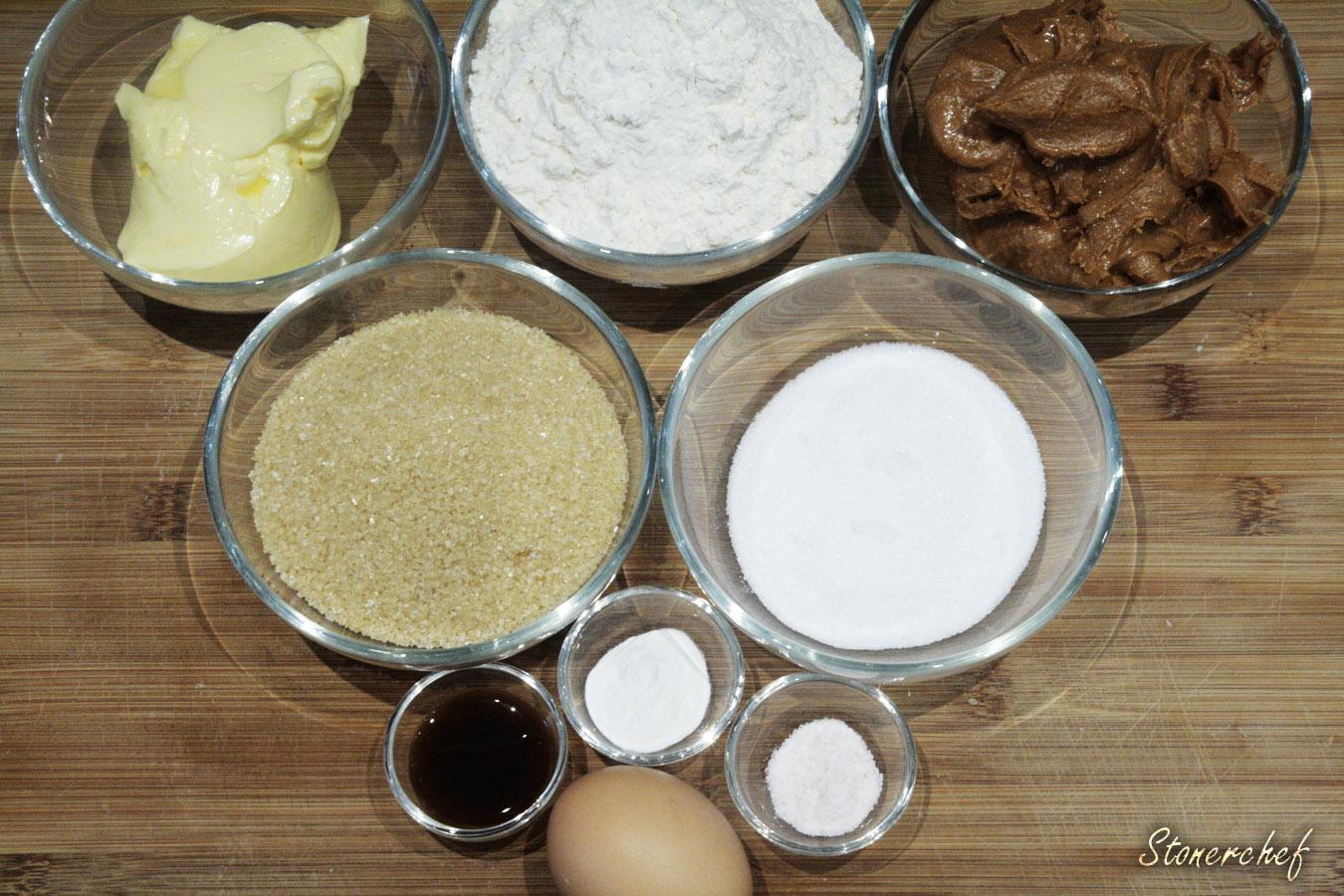 skladniki na ciasteczka z maslem orzechowym