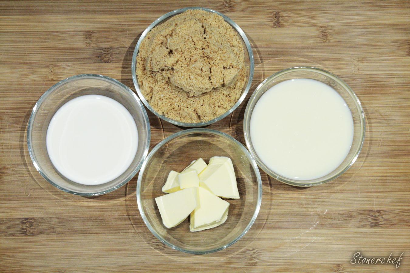 składniki na kokosowy krem ciasteczkowy