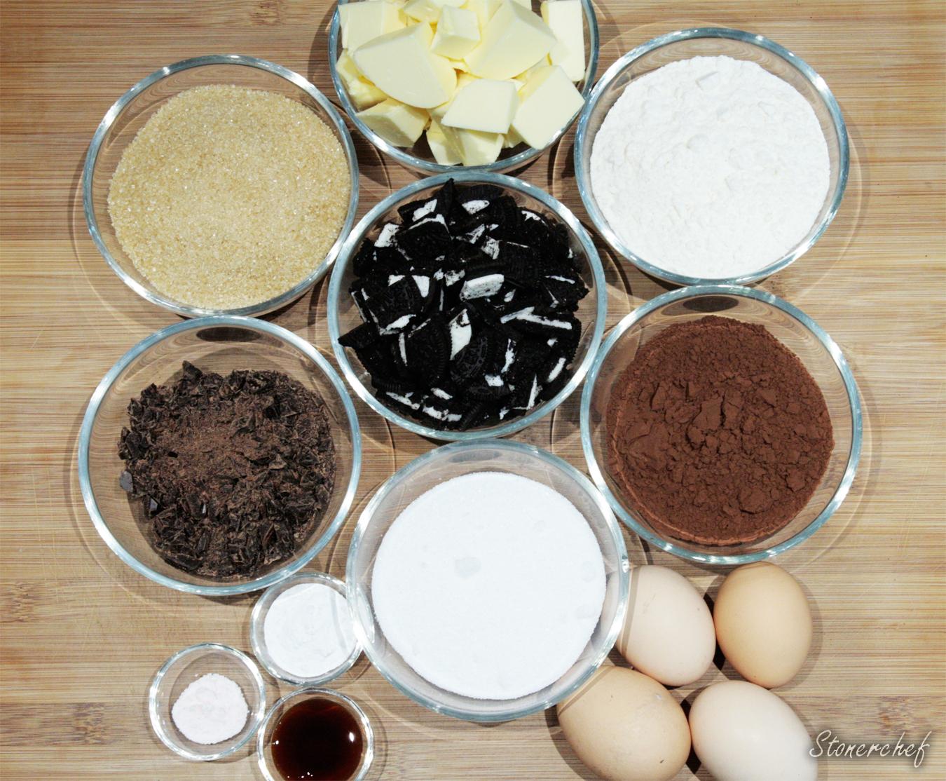składniki na oreo brownie