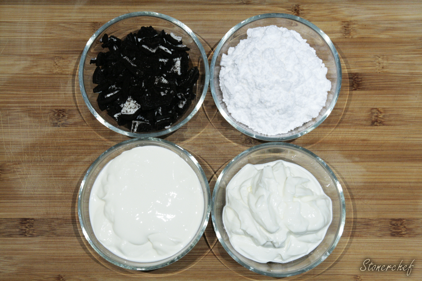 składniki na sernikową masę do brownie