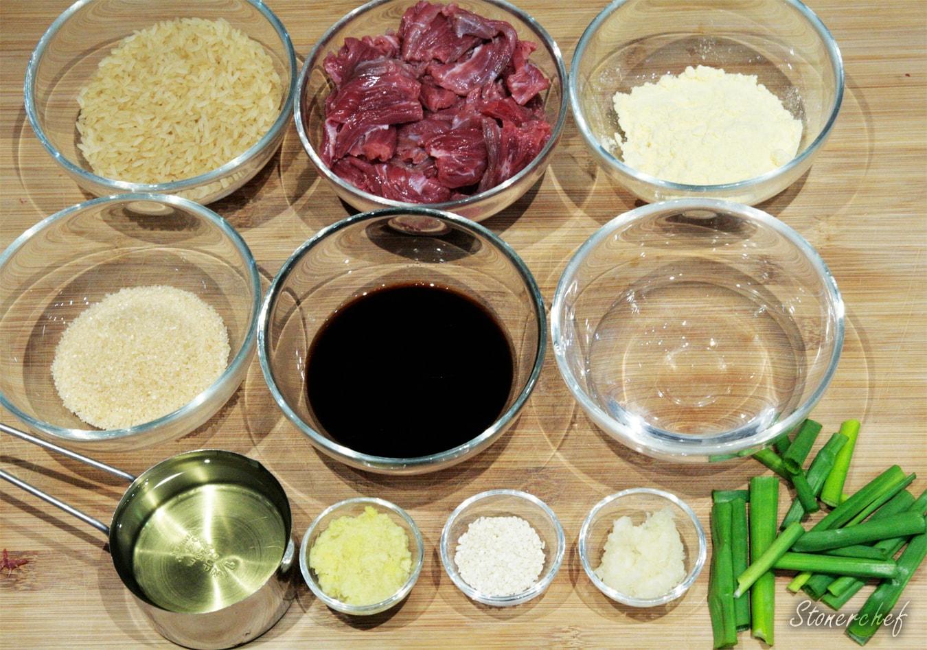 składniki na wołowinę po mongolsku