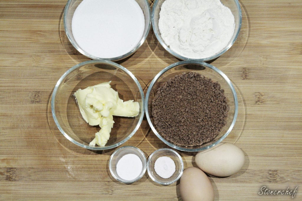 składniki na brownie