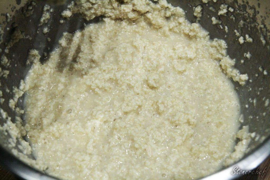 masa przed dodaniem suchych składników