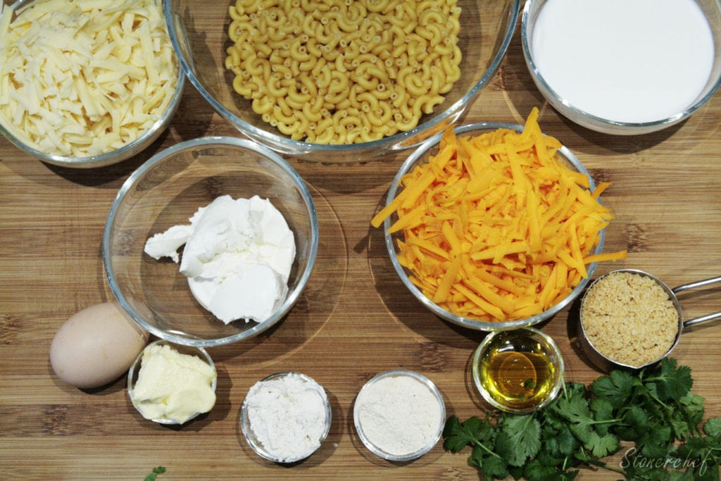 składniki na babeczki mac and cheese