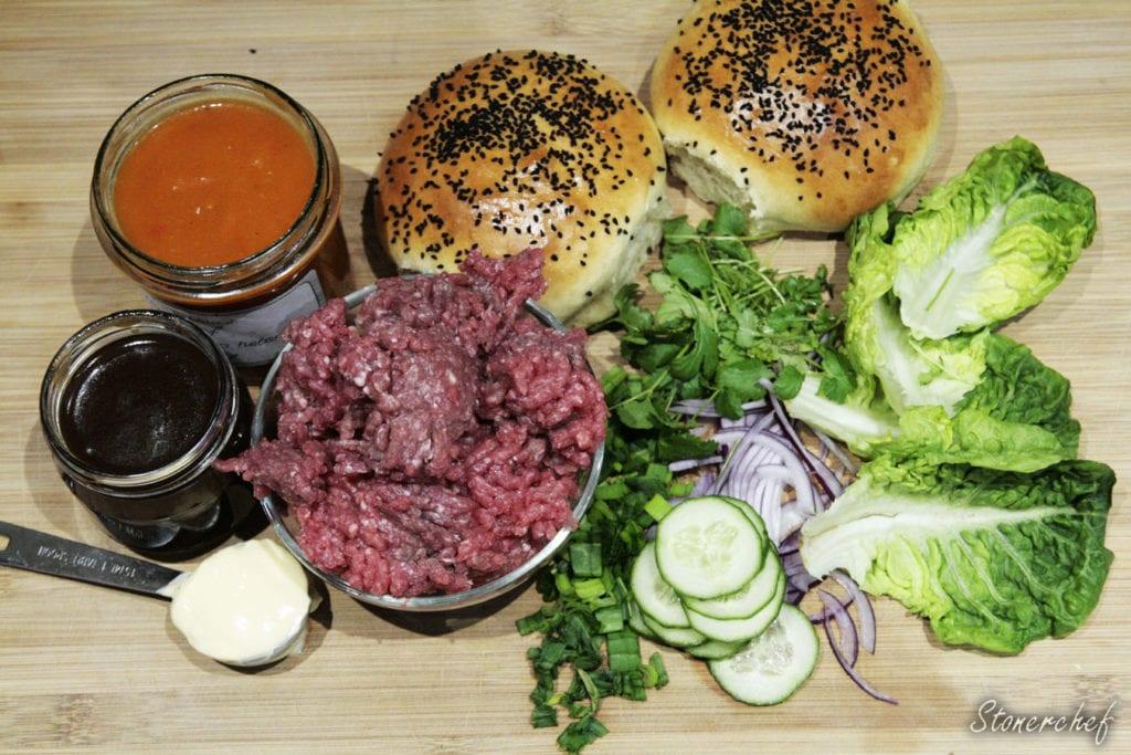 składniki na burgery teriyaki