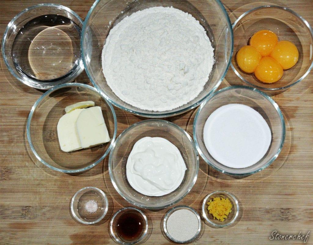 składniki na pączki creme brulee