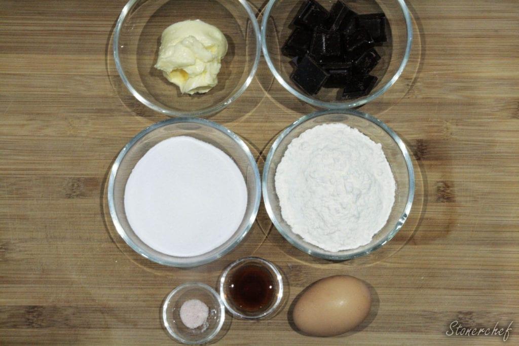 składniki na spód brownie