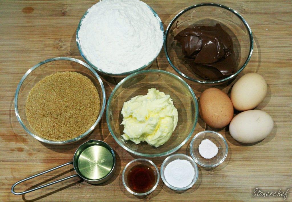 składniki na babeczki nutella