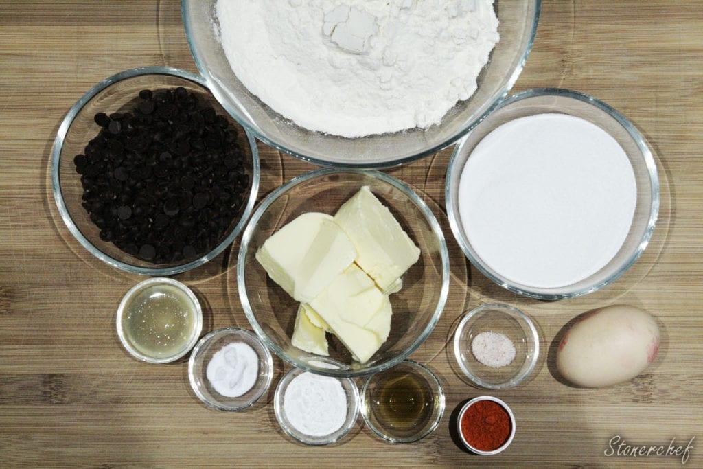 składniki na miętowe ciastka z czekoladą