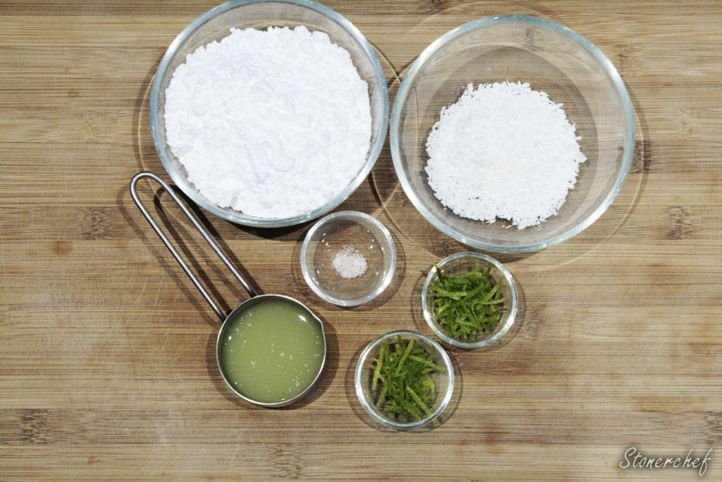 składniki na lukier kokosowo-limonkowy