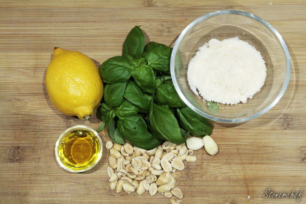 składniki na zielone pesto