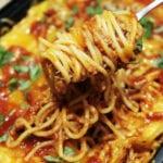 kubański pulled pork zapiekany ze spaghetti w sosie BBQ