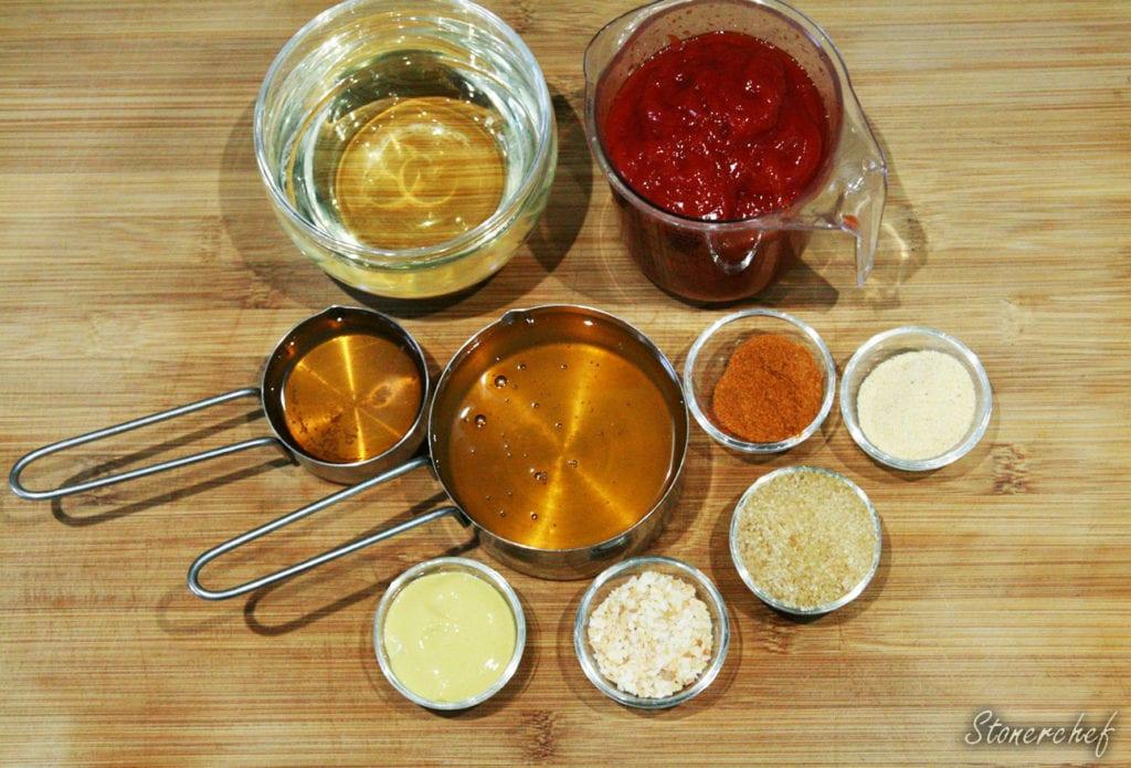 składniki na miodowo-piwny sos barbecue