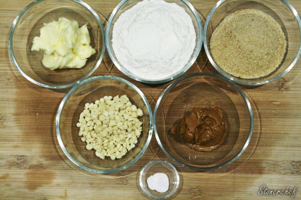 składniki na orzechowe cookie dough