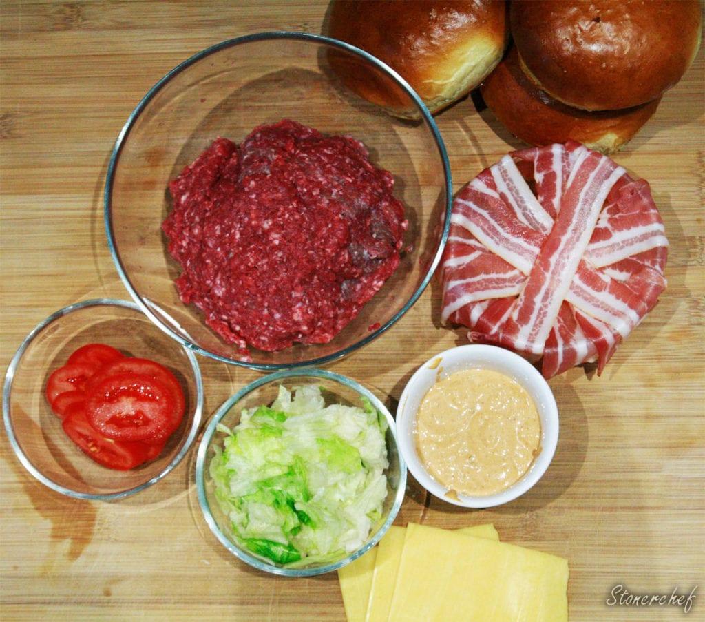 składniki na burgery BLT