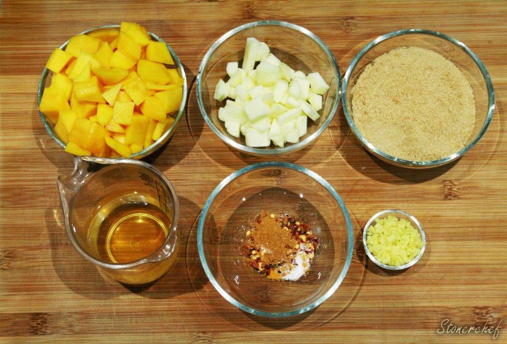 składniki na chutney z mango
