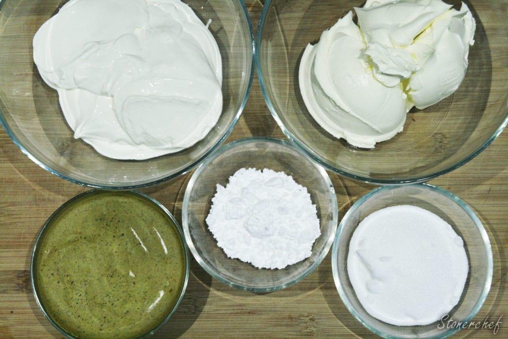 składniki na masę na sernik pistacjowy