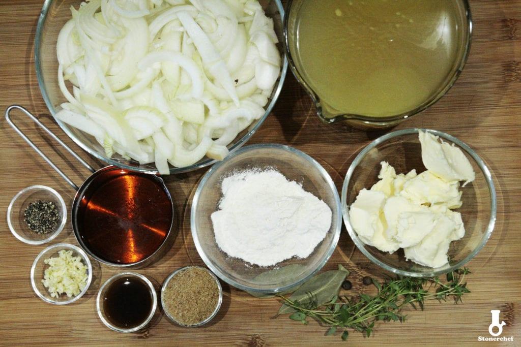 składniki na zupę cebulową