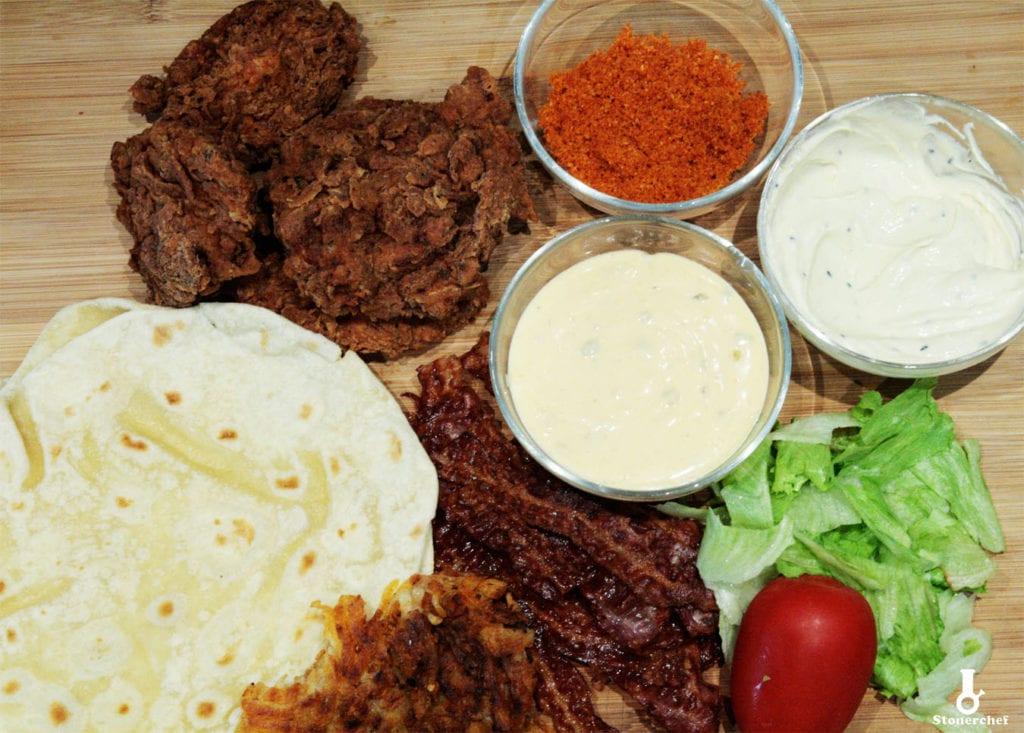 składniki na burrito ze stripsami