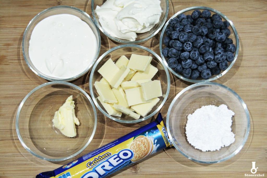 składniki na tartę z białymi oreo