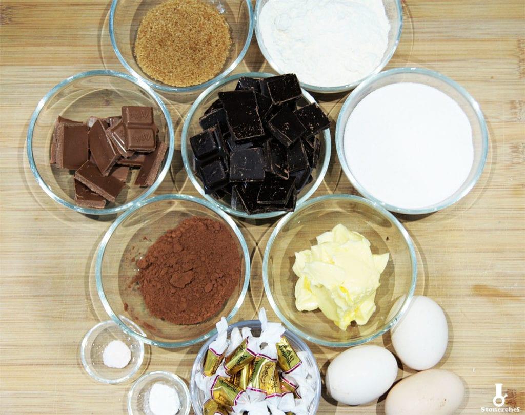 składniki na ciastka brownie z kamelkami