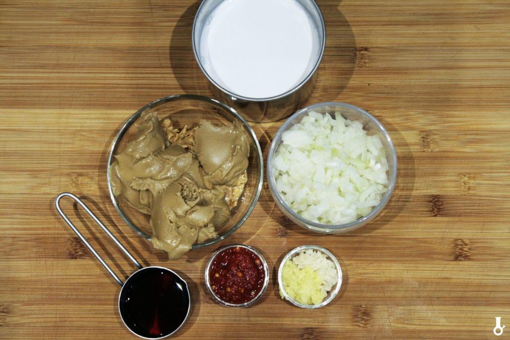 składniki na zupę z masła orzechowego