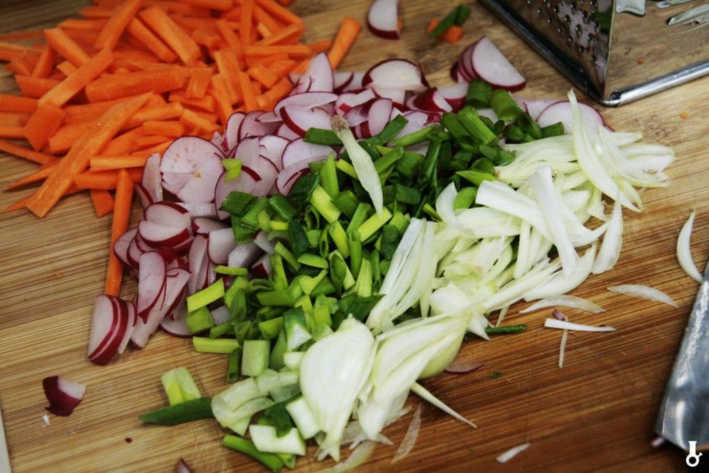 pokrojone warzywa do kimchi