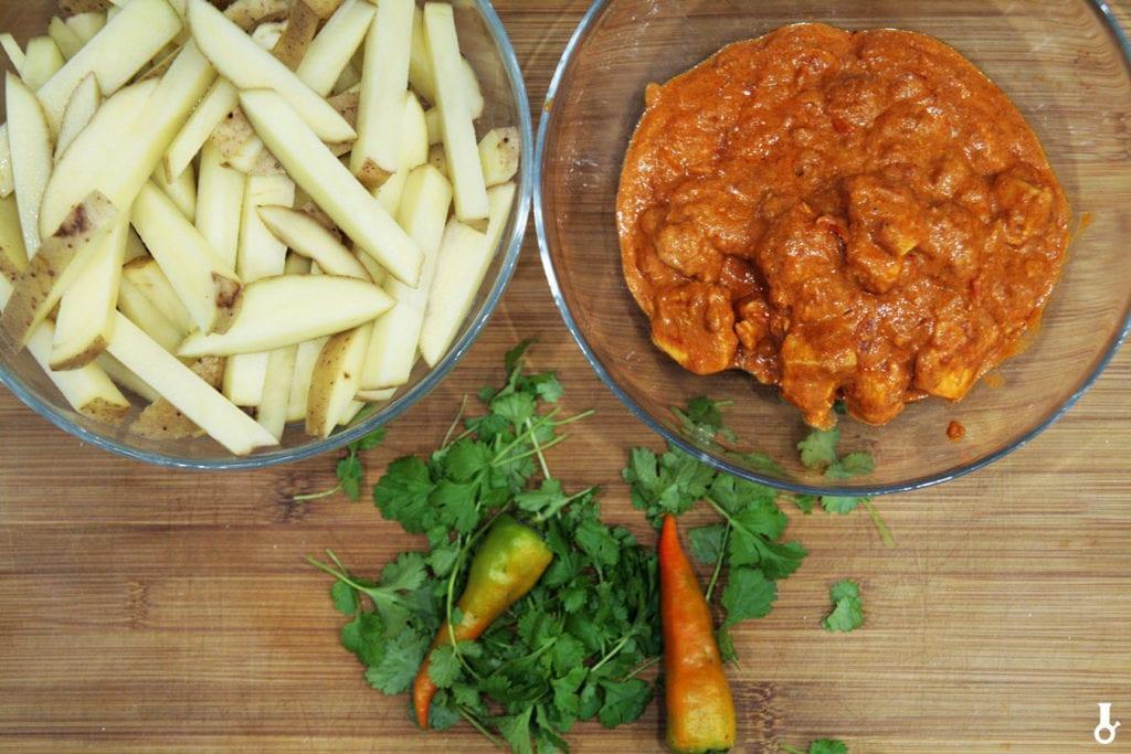 składniki na frytki tikka masala
