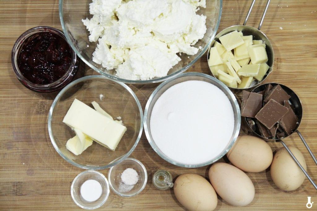 składniki na masę do serniko-brownie