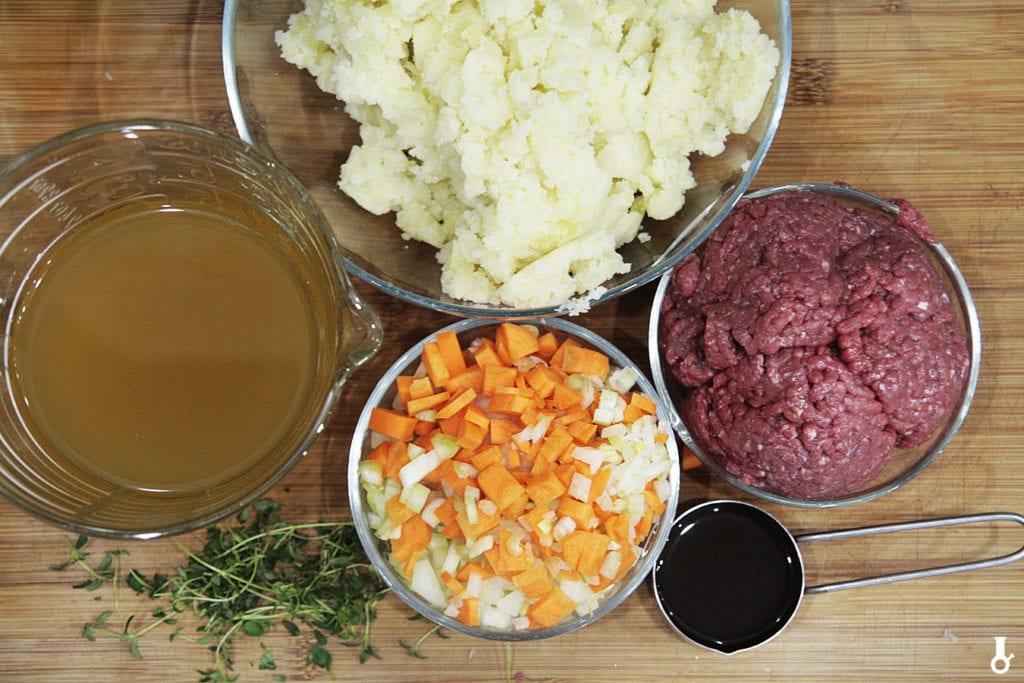 składniki na shepherd's pie