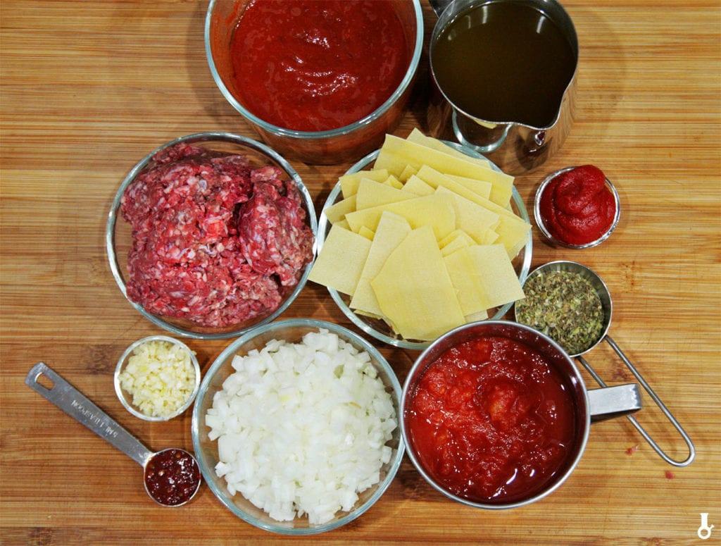 składniki na zupę lasagne