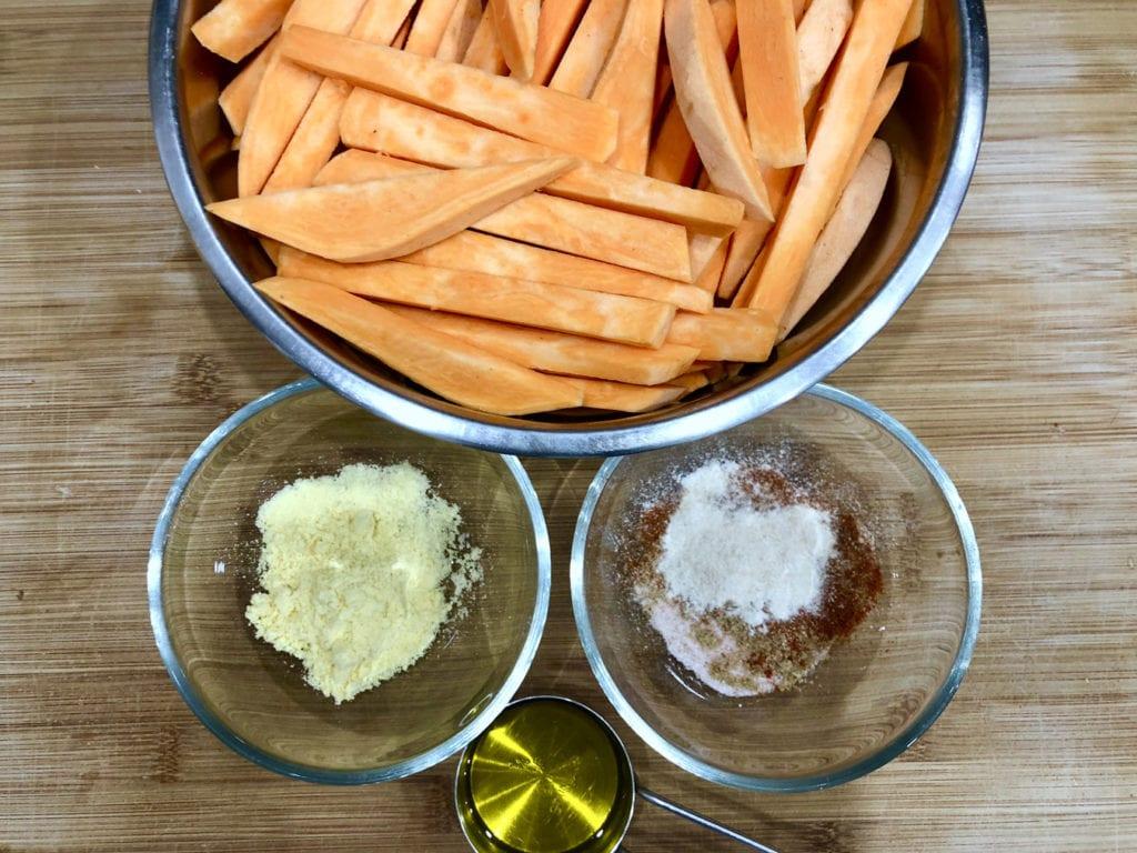 składniki na frytki z batatów