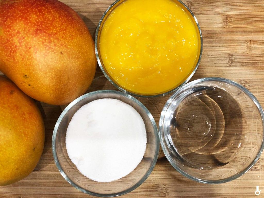 składniki na dżem z mango