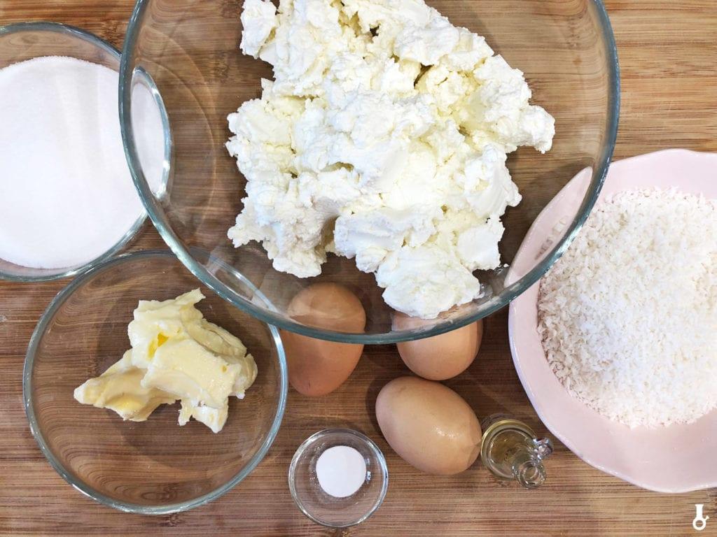 składniki na masę sernikową na sernik kokosowy