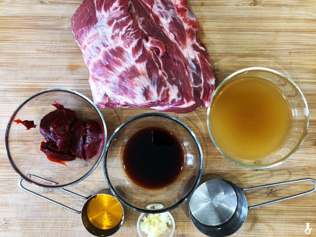 składniki na koreańskiego pulled porka