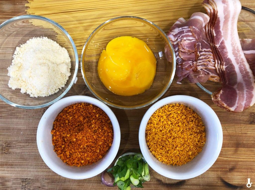 składniki na spaghetti doritonara